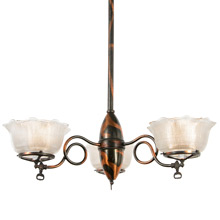 Simple Gas Chandelier with a Twist (or 3), c1905