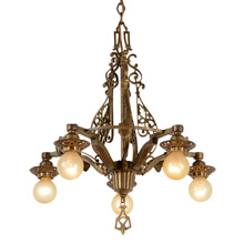 Ornate Polychrome Revival-Style 5-Light Chandelier, C1928