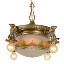 Colonial Shower Chandelier W/ Painted Bowl Shade C1920