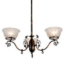 Richly Aged 3-Light Japanned Copper Fixture, C1900