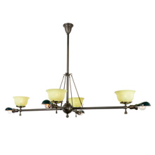 Rare Transitional Gas and Electric Billiard Chandelier C1905