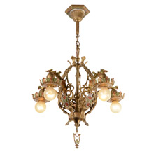 Stunning  Heraldic 5-Light Chandelier, c1929
