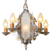 Art Deco Polychrome and Frosted Glass Chandelier C1935