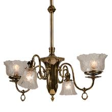 Gas-Electric Victorian Chandelier w/ Original Brass Finish c1905
