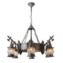 Medieval Revival Banquet Hall Chandelier C1928