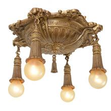 Striking Classical Revival Pan Light W/ Cast Tassel Sockets C1925