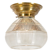 Brass Flush Mount W/Unusual Holophane Prismatic Shade