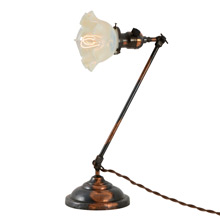 Faries Japanned Copper Desk Lamp W/Opalescent Shade, C1905