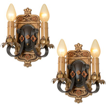 Pair of Moe Bridges Strap-Style Double Wall Sconces, C1927