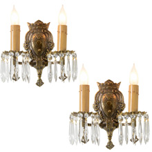 Pair of Cast Brass Revival-Style Sconces, C1925