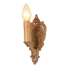 Pair Of Richly Polychromed Heraldic Candle Sconces, C1925