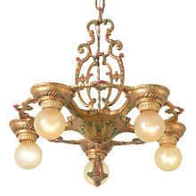 Delightful Revival-Style 5-Light Chandelier, c1929
