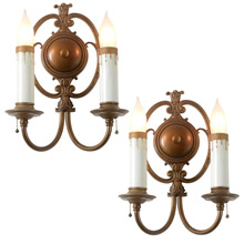 Pair of Graceful Colonial Revival Double Sconce, C1930