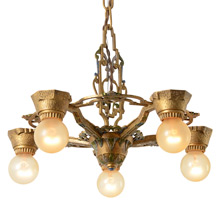 Ornate Polychrome Revival-Style 5-Light Chandelier, C1930