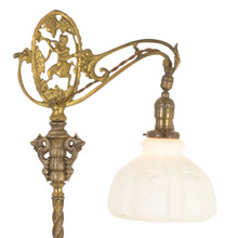 Charming Romance Revival Floor Lamp W/ Pan Motif C1925
