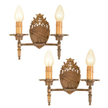 Pair of Heraldic Sconces w/ Shield Motif c1925