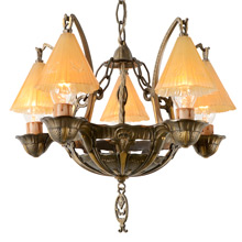 Romance Revival 5-Light Chandelier W/ Smoke Bells C1934
