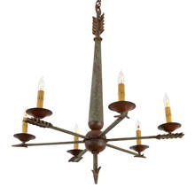 Enchanting 6-Light Revival Chandelier W/ Archery Motif C1910