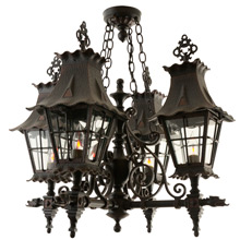 Faux Hammered Four Light Entry Way Chandelier w/ Dragon Motif C1970s