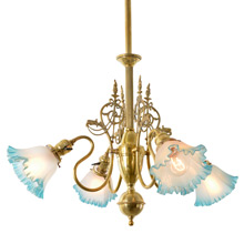 Late Victorian Polished Brass Empire Chandelier, C1900
