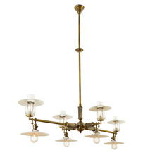 Japanned Brass Eight-Light Billiard Fixture c1905