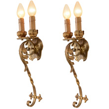 Magnificent Pair Of Wrought Iron Sconces, C1929