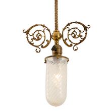 Brass Victorian Pendant w/ Swirl Opalescent Stalactite Shade c1910