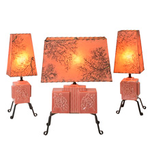 Trio of Sweet and Modern Rose-Colored Table Lamps C1955