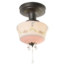 Decorative Flush Mount W/Darling Pink Painted Shade, C1928