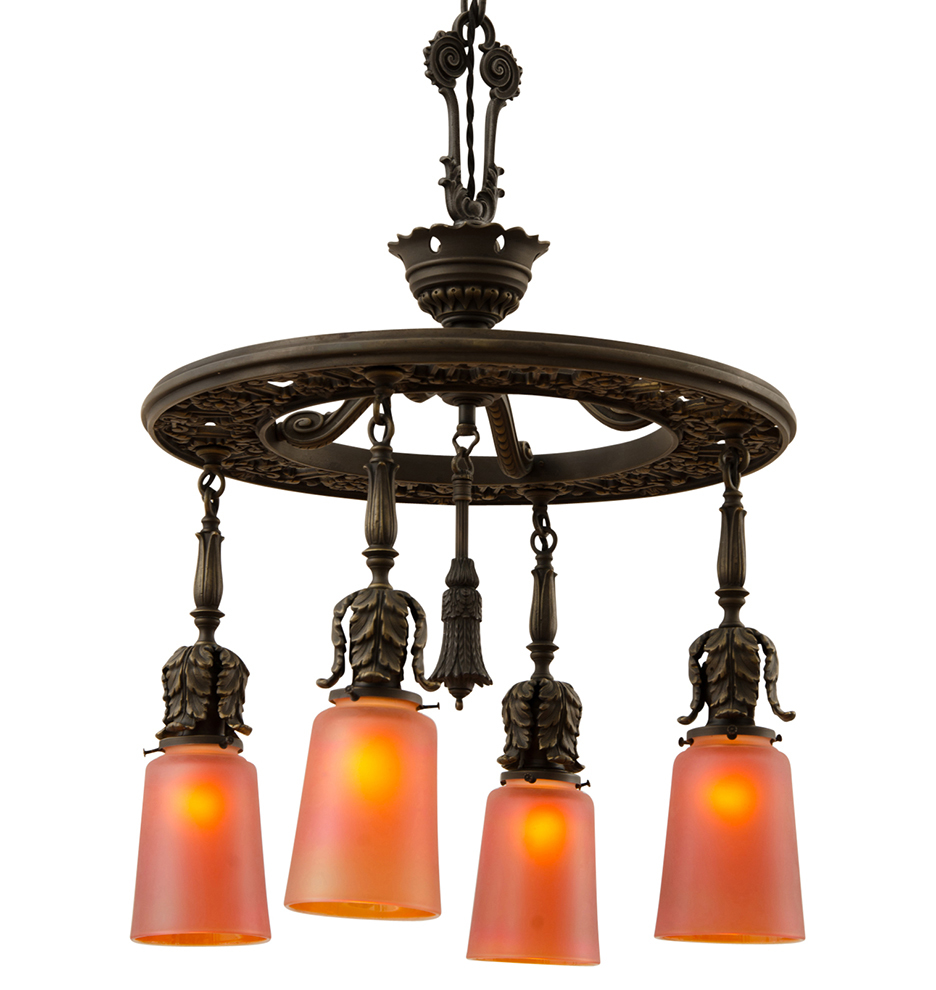 Classical Revival 4 Light Chandelier W Nuart Glass Shades Rejuvenation