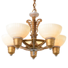 5-Light Cup Shade Chandelier W/ Art Deco Details, C1935