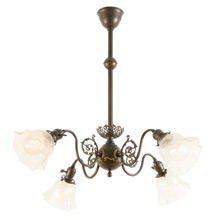 Late Victorian Chandelier w/Delicate Etched Shades C1900