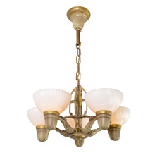 Classic Moderne 5-Light Chandelier w/Opal Shades, c1935