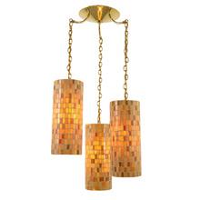 Mid-Century Amber Mosaic 3-Light Chandelier C1960's