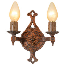 Hammered Revival-Style Double Sconce, C1930