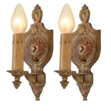 Decorative Polychrome Candle Wall Sconces, C1925