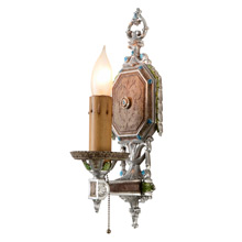 Silvery Classical Revival Candle Sconce, C1925