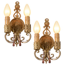 Pair Of Beautiful Colonial Revival Double Sconces, C1925