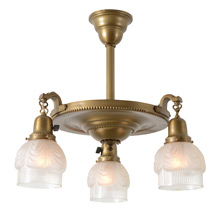"Colonial Revival 3-Light Drop Pan Fixture ""Drapery"" Shades, C1925"