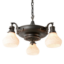 Decorative 3-Light Pan Fixture W/Classical Motifs, c1920