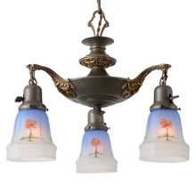 Colonial Revival Pan Light W/Tinted Tree Motif Shades, c1925