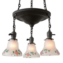 Colonial Revival 3-Light  Fixture w/Painted Shades, c1920