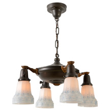 Colonial Revival Pan Light W/Lovely Painted Shades, c1925