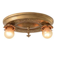 Polychrome 2-Light Flush Fixture W/ Exposed Bulbs, C1925