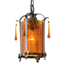 Revival Pendant W/Amber Crackle Shade, c1928