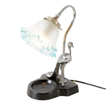 Art Deco Desk Lamp W/ Peacock Figure C1930
