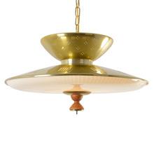 Quintessential Mid-century Brass-tone Saucer Pendant, c1957