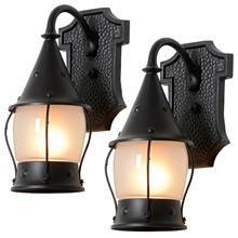 Pair of Boldly Hammered Romance Revival Lanterns, c1950