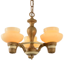 Petite Cup Shade Chandelier w/Custard Shades, C1935