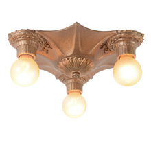 Three-Light, Antiqued Gilt Bare Bulb Fixture, C1925